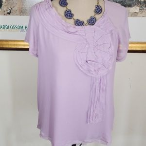 Talbots Lilac Silk top, rose detail , size 12P